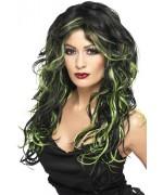 Perruque noire avec mèches vertes femme - perruque gothique halloween