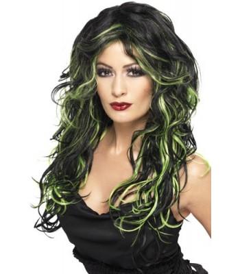 Perruque noire avec mèches vertes femme