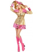 Déguisement pimp femme rose et or, bling bling et flashy ce costume est idéal pour le carnaval ou une soirée années 70