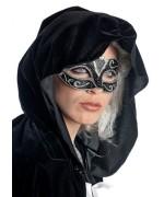 Masque vénitien femme, loup noir et or avec motifs - masque carnval de venise et deguisements marquises