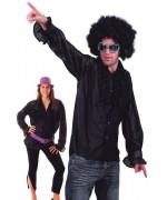 Chemise années 80 de couleur noire conçue pour hommes et femmes