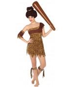 deguisement cro-magnon femme des cavernes avec robe, brassard et rubans - costume carnaval