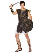 deguisement spartiate adulte, costume romain avec tunique et brassards - mythologie et légende