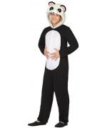 deguisement panda adulte, costume noir et blanc et capuche avec tête de panda - déguisements animaux