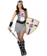 deguisement de chevalier medieval pour femme avec bouclier - costume soldat moyen-âge
