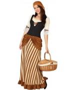 déguisement médiéval pour femme disponible en taille S, ML et XL avec robe médiévale et bandeau
