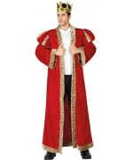 Déguisement roi de France pour adulte, long manteau rouge - costume medieval