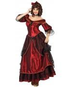 Ce déguisement belle du sud se compose  d'une longue robe de princessse de couleur bordeaux