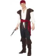 deguisement pirate homme noir et rouge adulte - costumes pirate