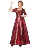 costume de marquise pour femme, longue robe bordeaux - SA011S