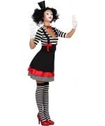 Déguisement de mime pour femme, robe à rayures noires et blanches  et tour de cou