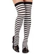 bas noir et blanc à rayures auto fixant - accessoire déguisements noirs et blancs