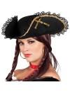 Tricorne femme pirate, chapeau noir avec rubans dorés