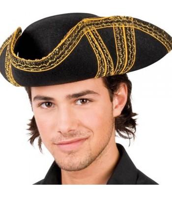 Chapeau de pirate tricorne noir