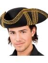 Chapeau pirate asulte, tricorne noir et or avec scratch - DA228A