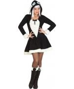 déguisement de brebis pour femme, robe à capuche de couleur noir et blanc