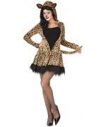 Déguisement leopard pour femme, robe à capuche - WA444S