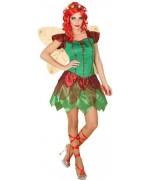 Déguisement de fée d'automne pour femme avec robe et paire d'ailes