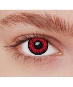 Lentilles loup rouge, complétez vos maquillages d'halloween grâce à cette paire de lentilles fantaisie rouge et noir