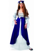Déguisement médiéval femme bleue, costume avec robe médiévale et couronne de fleurs