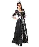 Déguisement de marquise pour femme, longue robe noire et or - SA027S