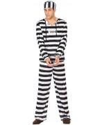 Déguisement prisonnier noir et blanc pour homme avec haut, pantalon et chapeau