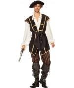 Costume de pirate luxe pour homme avec haut, pantalon et ceinture