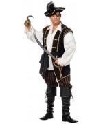 Déguisement pirate homme grande taille, costume avec pantacourt, ceinture et veste avec chemise incorporée