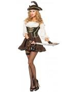 Déguisement pirate femme luxe, robe de pirate avec bustier incorporé