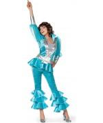 Déguisement disco femme bleu des années 70's, incarnez l'une des chanteuses du groupe Abba