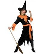 Déguisement sorcière halloween femme noire et orange avec robe et ceinture