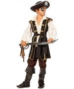 Déguisement pirate garçon 4 à 16 ans avec pantacourt, ceinture, veste avec chemise incorporée