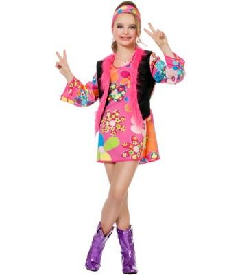Déguisement hippie fille rose