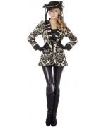 Veste pirate luxe pour femme de couleur beige et noir - costume pirate