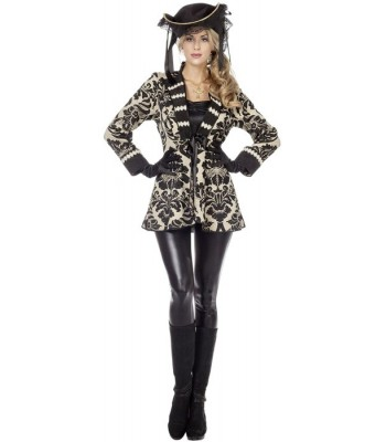 Veste pirate luxe beige et noire femme