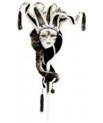 Masque venitien noir et blanc avec baton - accessoire costume carnaval de Venise