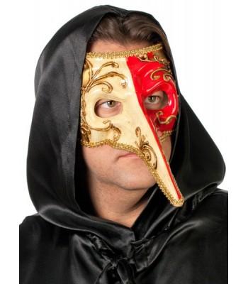 Masque vénitien avec long nez rouge et blanc