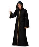 Déguisement médiéval homme noir, long manteau noir à capuche
