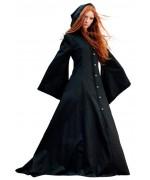 Déguisement médiéval femme authentique Cassandre, longue robe médiévale à capuche