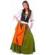Déguisement de taverniere médiévale pour femme, costume d'époque avec chemisier, jupe et boléro