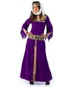 Déguisement dame médiévale luxe avec robe, ceinture et bandeau - costume médiéval et moyen-âge