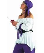 Chemise médiévale pour femme de couleur blanche - costumes médiévaux et pirates