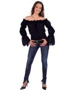Chemise noire femme pirate et médiévale