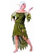 Déguisement femme elfe avec perruque et oreilles pointues, un costume luxueux sur thème des mythes et légendes