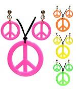 Collier et boucles d'oreilles fluo peace & love, accessoire déguisement années 60 et 70