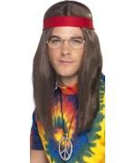 perruque hippie avec bandeau, pendentif et lunettes - kit déguisement hippie adulte