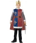 déguisement de roi Arthur pour enfant de 4 à 12 ans avec couronne