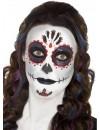 Maquillage squelette pour femme inspiré de la fête mexicaine, le jour des morts