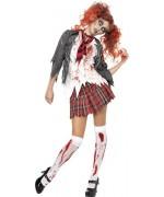 Déguisement zombie femme écolière, uniforme d'halloween adulte