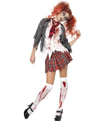 Déguisement zombie femme écolière